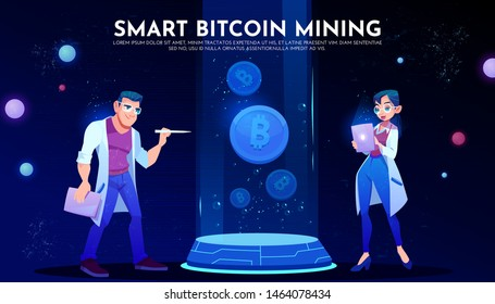 Smart bitcoin mining landing page, couple of scientists in white robes holding tablet watch on cryptocurrency on ski-fi podium, neon glowing futuristic background. Cartoon vector illustration, banner