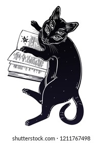 Smart black boho four eyed demon magic cat reading the necronomicon book. Kitten is studying Gothic occult knowledge or witchraft concept. Vector isolated illustration.