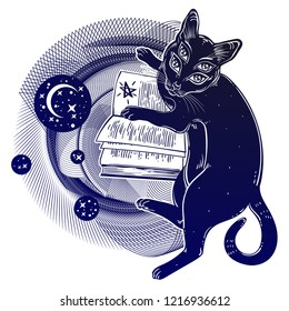 Smart black boho four eyed demon magic cat reading the necronomicon book. Kitten is studying Gothic occult witchcraft concept in space circle geometric shape with moon. Vector isolated illustration.