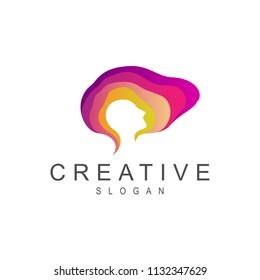 Smart Brain Logo Design Template, Brain Logo, Imagination Logo, People Head Silhouette Inside Brain Shape