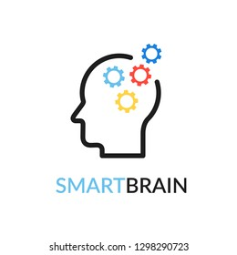 Smart brain vector icon.