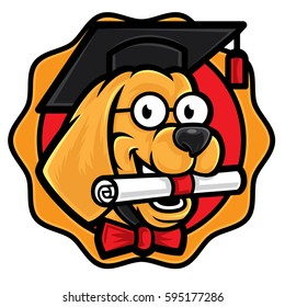 Smart buddy dog mascot, a smart dog wearing graduation cap
