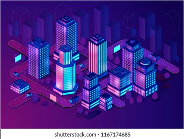 Smart buildings isometric illustration. Neon futuristic city architecture concept. Intelligent buildings. Smart city. Modern town map with 3d skyscrapers. Internet of things. Isolated vector