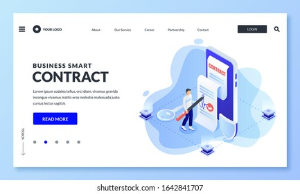 Smart business contract app and blockchain security technology concept. Vector 3d isometric illustration. Man puts digital signature on electronic document on smartphone screen.