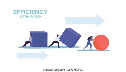 Smart business and efficiency concept with two businessmen struggling to push cubes while a businesswoman races ahead pushing a sphere, colored flat vector illustration isolated on white background
