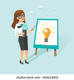 Smart business woman with smartphone showing an idea on flip chart. Teacher with glasses showing presentation. Vector character in flat style.