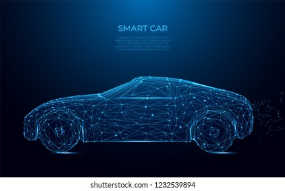 Smart Car. Abstract image of smart car in the form of a starry sky or space. Cars vector wireframe concept. Polygon vector design. Speed, drive, fast race auto style, power concept vector. Poly art