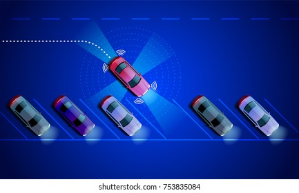 Smart car is automatically parked in the Parking lot, the view from the top. Parking Assist system security scans the road. Vector illustration.