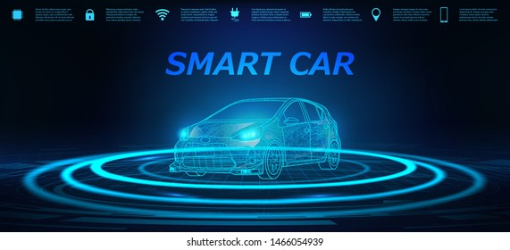 Smart Car Banner. Abstract image of a smart or intelligent car in the form of a starry sky or space. X-ray hologram in HUD style. 3D Electric machine. IOT Autonomous car vehicle with icons infographic