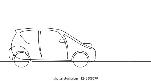 Smart Car Continuous Vector Line Graphic