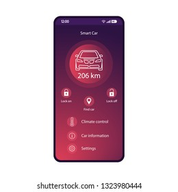 Smart car control app mobile interface vector template. Smartphone application page purple design layout. Autonomous remote controller flat gradient UI screen. Vehicle feature, settings phone display
