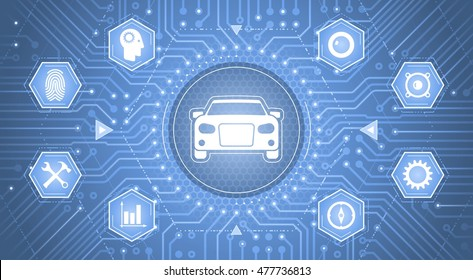Smart Car Interface. Infographical template as a graphic interface of 'Smart Car Control Panel'.