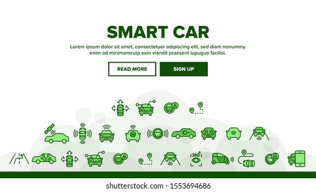 Smart Car Landing Web Page Header Banner Template Vector. Intelligence Control And Security, Network Navigation And Autopilot Smart Car Devices Illustration