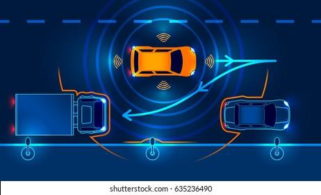 Smart car Parking Assist system parallel Parking. Vector illustration.