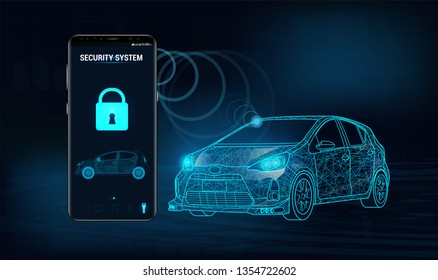 Smart car security system icon in futuristic style. The smartphone controls the car security on the wireless and shows the owner a level of protection of the car. Auto alarm concept. Vector