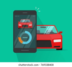 Smart car and smartphone dashboard system data vector illustration, flat cartoon style of mobile phone with automobile diagnostic app, cellphone connected to auto control wireless technology
