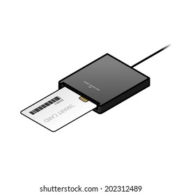 A smart card / security card being inserted into an external USB card reader.