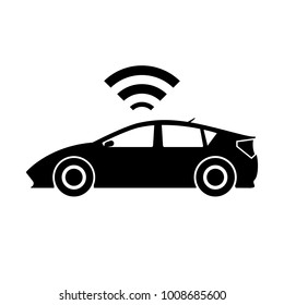 Smart cars driverless car technology autonomous vehicle system capability sign and symbol IoT trend. Vector illustration Internet of Thing technology.