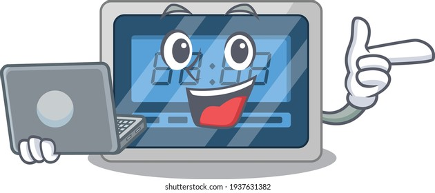 Smart cartoon character of digital timer studying at home with a laptop
