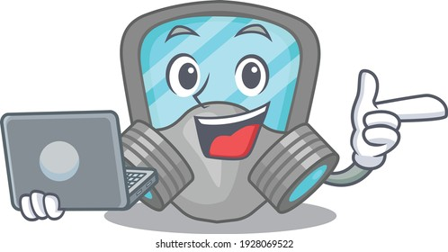 Smart cartoon character of respirator mask studying at home with a laptop