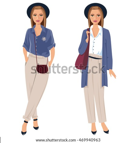 Smart Casual Dress Code Fashion Woman Stock Vector Royalty Free
