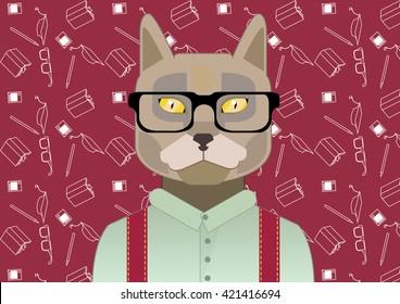 smart cat, cat with glasses,scientist cat, pattern science, cat student, flat cat, cat at the University, Cat in suspenders, fashionable cat