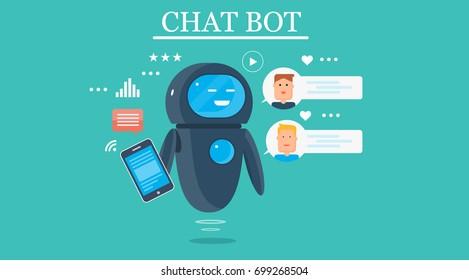 Smart Chat bot, technology vector illustration