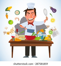 smart chef character cooking behind kitchen table with various of ingredients. kitchen and chef concept - vector illustration