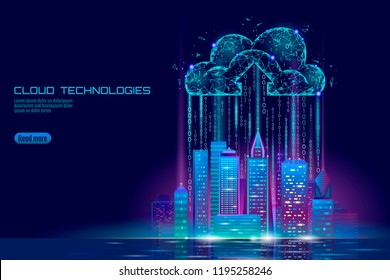 Smart city 3D light cloud computing cityscape. Intelligent building big data exchange storage online futuristic business concept future technology. Urban banner vector illustration