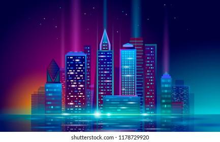 Smart city 3D neon glowing cityscape. Intelligent building automation night futuristic business concept. Web online vivid color cyberpunk retrowave. Urban technology banner vector illustration