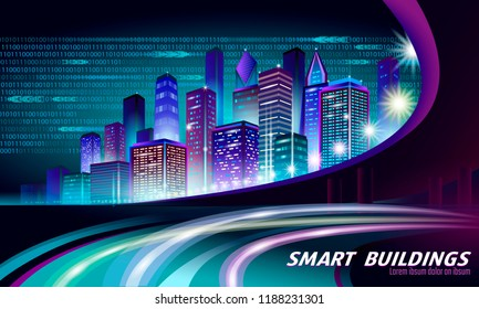 Smart city 3D neon glowing cityscape. Intelligent building automation night futuristic business concept. Web online vivid color cyberpunk retrowave. Urban technology banner vector illustration