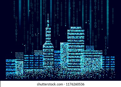 Smart city 3D spotted dots. Intelligent building automation system business concept. Web online computer binary code. Architecture urban cityscape technology sketch banner vector illustration