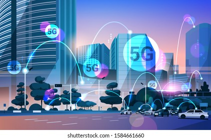smart city 5G online communication network wireless systems connection concept fifth innovative generation of global high speed internet modern cityscape background flat horizontal vector illustration