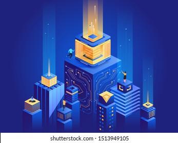Intelligente Stadtarchitektur, isometrische Illustration. Männer und Frauen arbeiten in 3D-Zeichentrickfiguren im Cyberspace. Futuristische Technologie, Server Farm Dunkelblau Konzept. Digitales Netzwerk, virtuelle Datenbank-Metapher