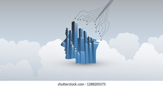 Smart City, Automated Digital Control, Deep Learning, Artificial Intelligence and Future Technology Concept Design with Network Connections, Cityscape and Human Head - Vector Illustration