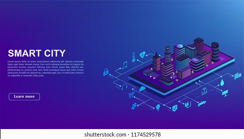 Smart city automation from smartphone. Concept of  building management system, technology of iot. City is standing on mobile phone with home control icons.