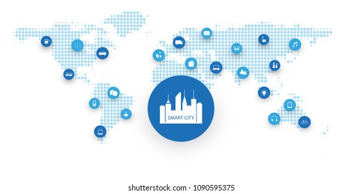 Smart City, Cloud Computing Design Concept with Icons - Digital Network Connections, Technology Background with Spotted World Map