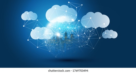 Smart City, Cloud Computing Design Concept with Transparent Globe and Cityscape - Digital Network Connections, Technology Background