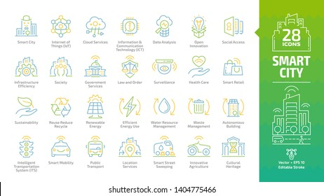 Smart city color outline icon set with infrastructure efficiency technology, future digital urban, open innovation, social access, society, government services editable stroke line sign.