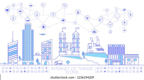 Smart city concept with different icon and elements.  city design technology for living. Illustration of innovations and Internet of things.Internet of things/Smart city