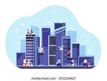 Smart city concept. Downtown internet communication, urban office buildings. People walking, new digital infrastructure utter vector concept