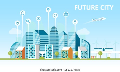 Smart city concept. City of the future. Landscape with skyscrapers modern technology. Hyperloop Sorting garbage. Green energy. Сaring for the environment. Urban view Flat Vector Cartoon Illustration