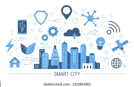 Smart city concept. Idea of global internet connection and artifical intelligence. Futuristic infrastructure in town. Wireless connection. Set of colorful icons. Isolated flat vector illustration