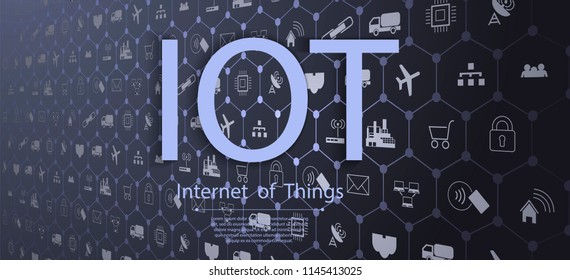 Smart city concept. Industry 4.0, Internet of things (IoT) . ICT(Information Communication Technology).IOT. Set icon and symbol.