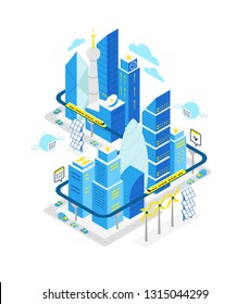 Smart city data center isometric building. Hosting server technology automation with networking. IoT future technology. Traffic and internet of things vector concept.