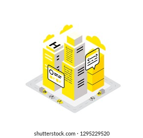 Smart city data infrastructure server isometric concept. Yellow, black and gray infographic icon