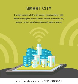 Smart City Flat Vector Banner Template. 3d Cityscape Model, Wifi Signal. Graphics Tablet with Housing Complex. Architecture Infrastructure. Cityscape Designing, Text Space. Construction Company Poster