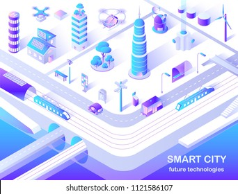 Smart city future technology isometric flowchart with delivery and police drones, solar lights and turbine tower energy source vector illustration.