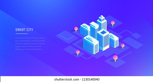 Smart city. Futuristic buildings on an abstract ultraviolet background. Modern vector illustration isometric style.