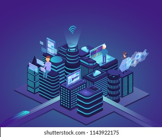 Smart city of high technology. Control system and automation of city processes with help of computer wireless network. Concept business technology.